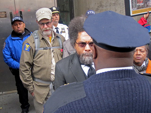 Cornel West staring at an NYPD officer at the stop and frisk protest on Oct. 21, 2011.