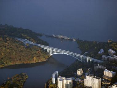 Aerial view of Henry Hudson Bridge.