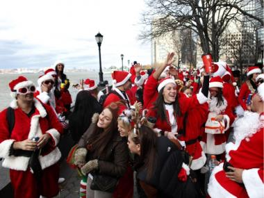 Thousands of revelers dressed like Santa took to the street and bars on Dec. 10, 2011 for SantaCon.