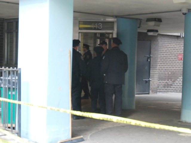 Police stand outside the entrance to the Fulton Houses on Dec. 12, 2011.
