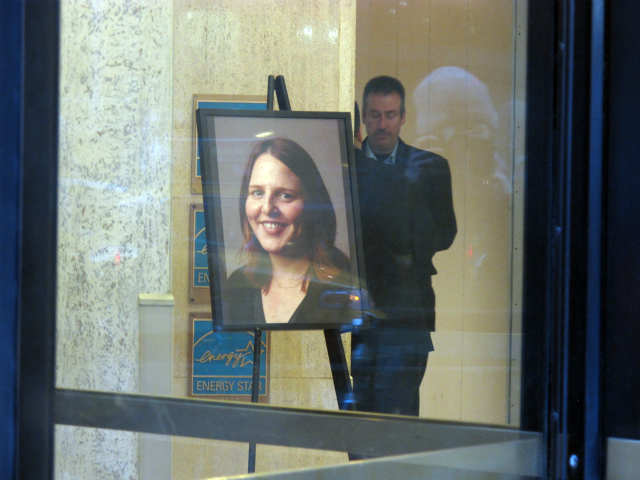<p>A shrine to Suzanne Hart stands In the lobby of Young &amp; Rubicam at 285 Madison Avenue, where she was killed in an elevator accident on December 14, 2011.</p>