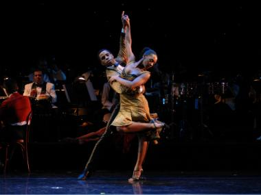 "Ballet Hispanico dancers perform ""Club Havana,"" one of the pieces it will perform at its Apollo debut Saturday."