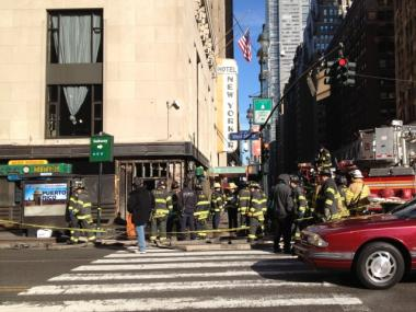 The facade of the Tick Tock Diner, on 34th Street and Eighth Avenue, was badly damaged in a fire on Dec. 18, 2011.