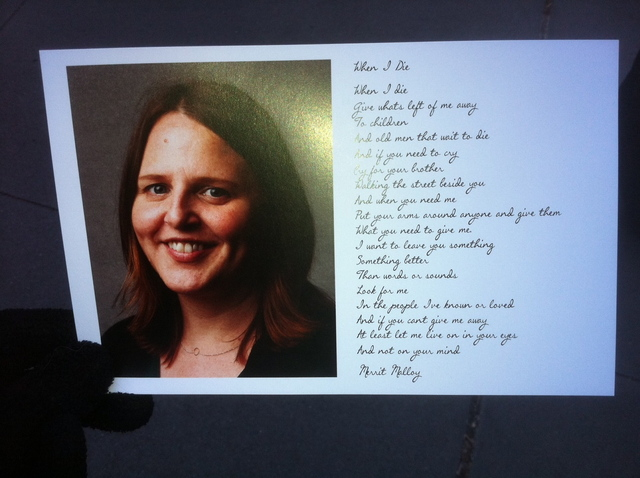 <p>The memorial card handed out at a service for Young &amp; Rubicam executive Suzanne Hart, who was killed in an elevator accident on December 14, 2011.</p>