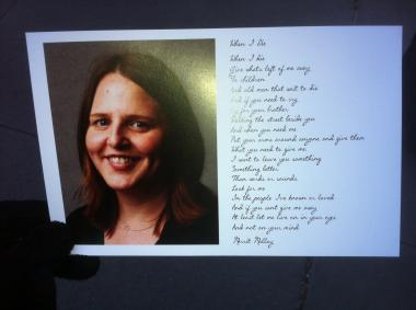 The memorial card handed out at a service for Young Rubicam executive Suzanne Hart, who was killed in an elevator accident on December 14, 2011.
