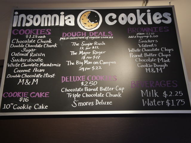 The menu at Insomnia Cookies includes cookies of all different kinds of cookies.