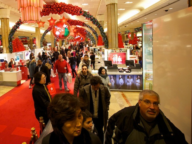 <p>Crowds pack into Macy&#39;s to do last-minute Christmas and holiday shopping on Dec. 24, 2011.</p>