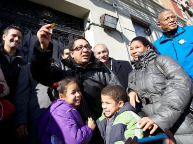Octavio Estevez with the key to his family's new apartment on 369 Edgecombe Avenue after spending more than a year in a shelter system in the Bronx.