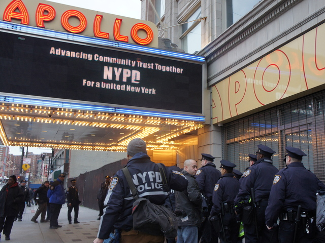 NYPD recruits attend a multicultural immersion course at the Apollo Theater.