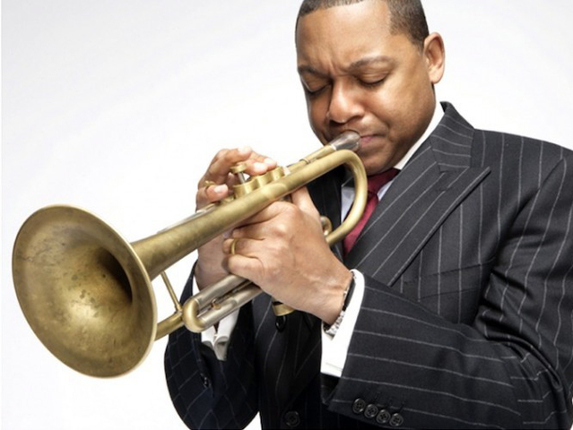 New Orleans trumpeter Wynton Marsalis celebrates the music of New Orlean's ragtime jazz legends Jelly Roll Morton and King Oliver at Dizzy's Club, home of Jazz at Lincoln Center on Wednesday night.