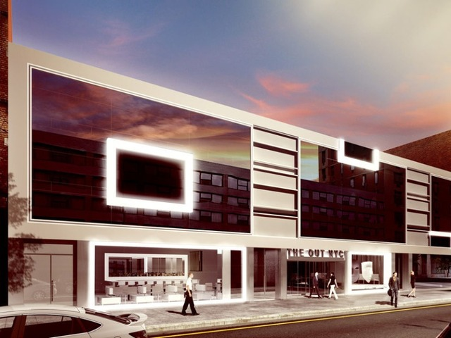 A rendering of the outside of The Out NYC, the city's first gay hotel.