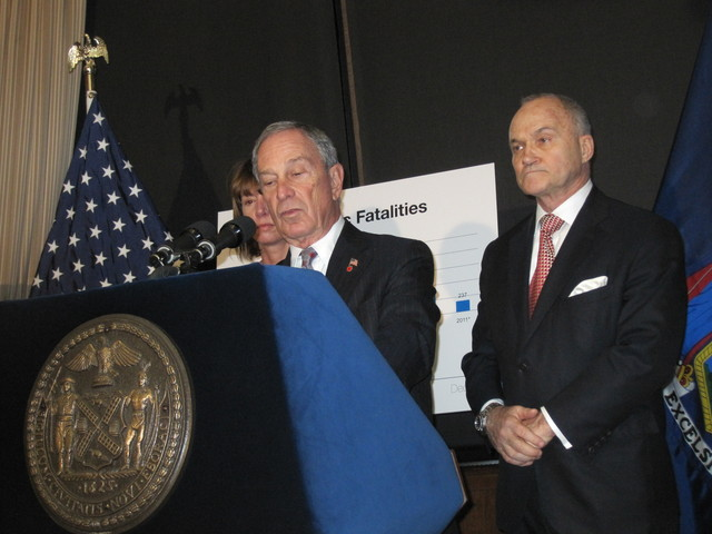 Mayor Michael Bloomberg said the city's roads are the safest in a century.