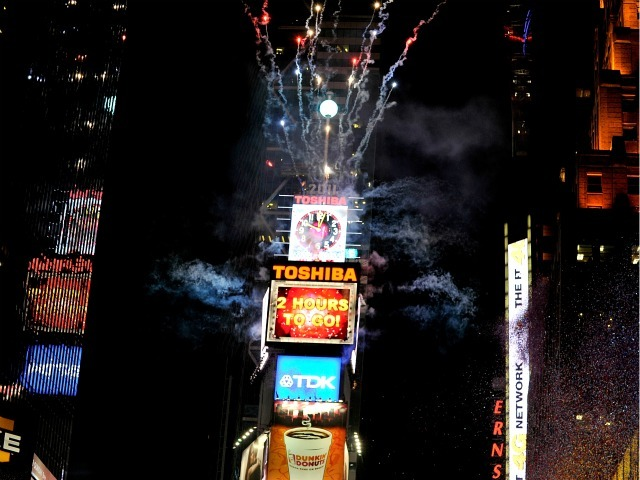 A view of the atmosphere during New Year's Eve 2011 with Carson Daly at Times Square on December 31, 2010 in New York City.
