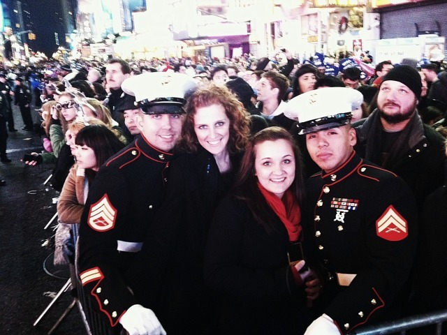 Soldiers ring in the New Year in Times Square on Dec. 31, 2011.