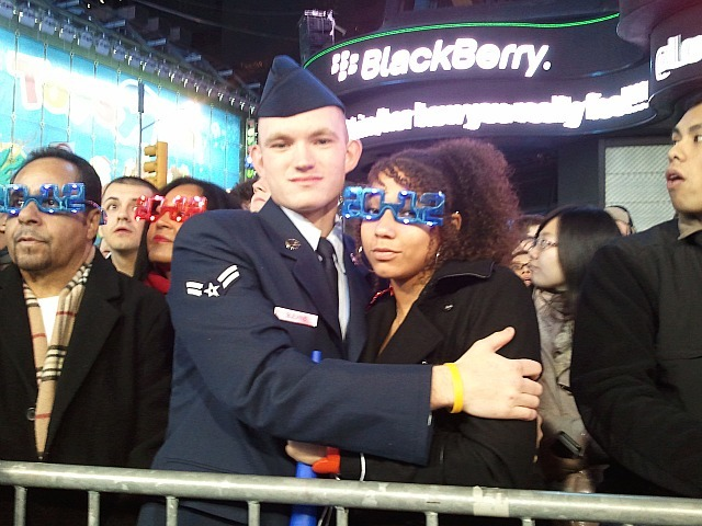 Air Force soldier Jacob Blevins, 20, of Kentucky and his girl friend  Starr Johnson ring in the New Year on Dec. 31, 2011 in Times Square.