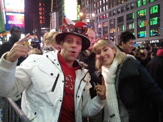 Jordi Callan, 38, of Barcelona came to Times Square with his girlfriend Mariona Vidac, 26 on Dec. 31, 2011 to celebrate New Year's Eve.