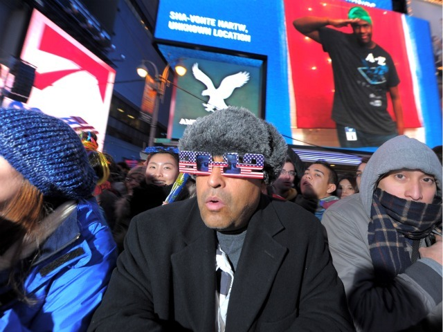 Crowds gather for the New Year's Ball Drop In Times Square on December 31, 2011 in New York City.