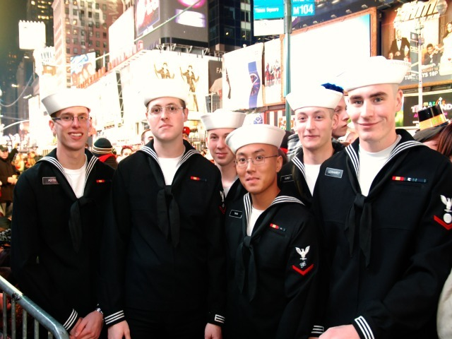 A group of members of the Navy who went to school together in North Carolina spent New Year's Eve 2012 in Times Square.