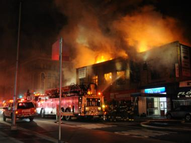 A fire engulfed a suite of businesses in Inwood on January 3, 2012.