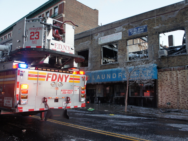 The aftermath of a fire that blazed through the night of January 3, 2012