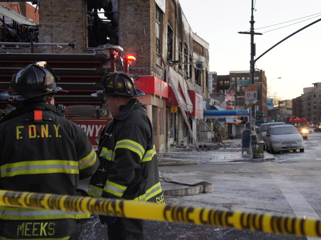 Firefighters from all over the city responded to a massive blaze in Inwood January 3, 2012