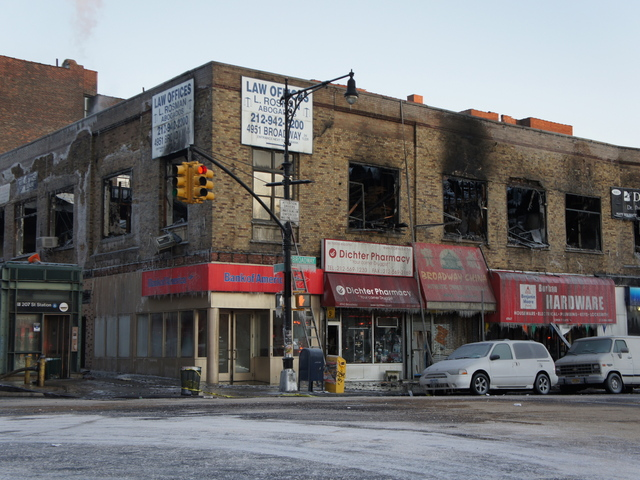 Businesses gutted during a massive fire in Inwood January 3, 2012