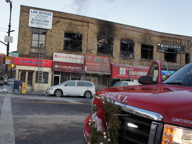 Fire crews from around the city responded to a blaze in Inwood January 3, 2012