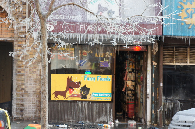 The exterior of a store gutted in a massive fire in Inwood Jan 13, 2012
