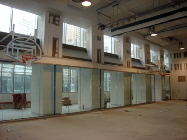 The gym at Asphalt Green's new community center, shown in January 2012.