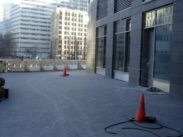 The community terrace outside the Battery Park City community center, shown in January 2012.