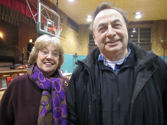 Feast of San Gennaro board members Vivan Catenaccio and Robert Marshall were pleased by Community Board 2's endorsement of their permit request Jan. 5, 2012.