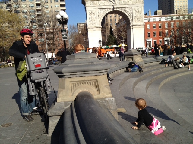 Visitors to Washington Square Park basked in the sun on Sat., Jan. 7, 2012, when the temperature topped out at 62 degrees.