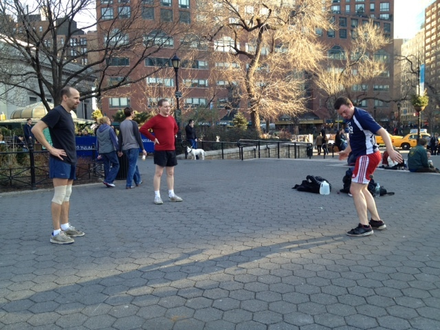 A group plays hacky sack in Union Square on Sat., Jan. 7, 2012, when the temperature topped out at 60 degrees.