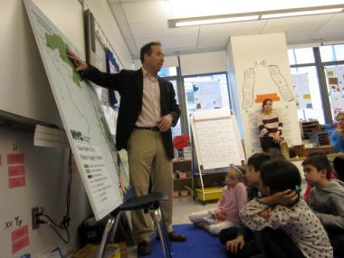 Tom Foley, assistant commissioner at the Department of Design and Construction, explained to students how water gets to New York City.