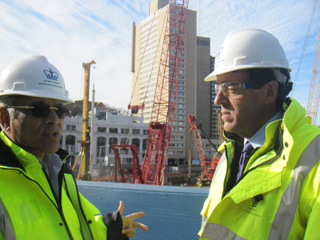 <p>Ramesh Raman, executive director of environmental field compliance for Manhattanville development and Philip Pitruzzello, vice president Manhattanville Construction for Columbia University, say the clean construction is making a difference for the West Harlem community.</p>