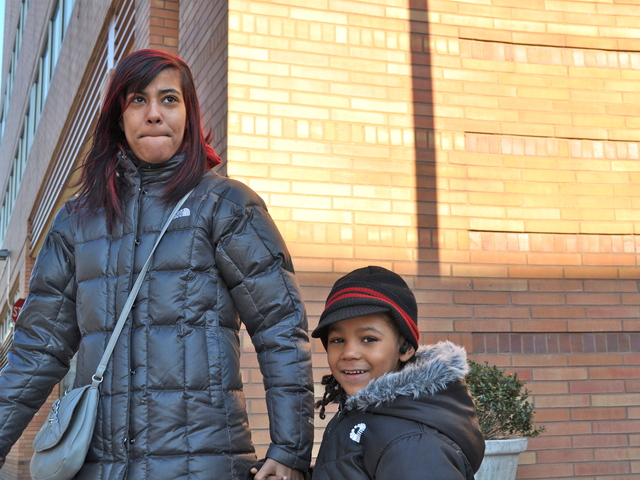 Prestina Gonzalez and her son exited Wyckoff Hospital, where she stayed for two weeks in September before giving birth to her younger child. She said she did not know what she would do if the hospital closed.