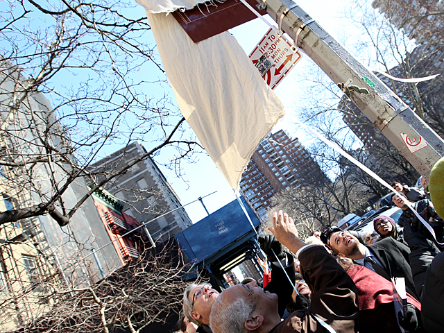 <p>Neighborhood preservationists and elected officials celebrate at &quot;Lamartine Place,&quot; in New York City, on Jan 15th, 2012.</p>