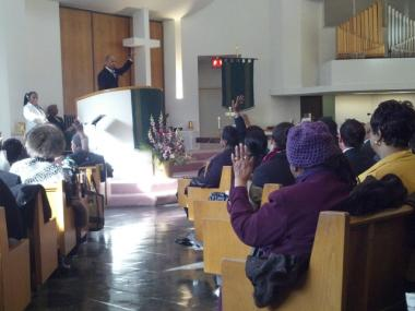 Bronx Borough President Ruben Diaz Jr. speaks during a Martin Luther King Jr. memorial service at Trinity Baptist Church on Jan. 16, 2012.