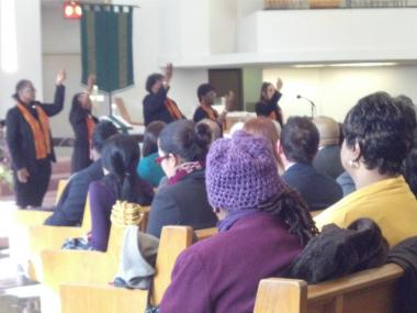 The Blessed Quietness Choir at Trinity Baptist Church performs during a memorial service for Martin Luther King Jr. on Jan. 16, 2012.