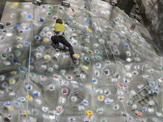 <p>The climbing wall at the Chelsea Piers sports center is 46 feet high in some spots.</p>