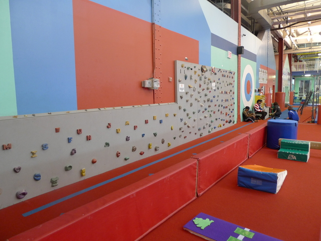 <p>A kid-sized climbing wall at the Chelsea Piers field house.</p>