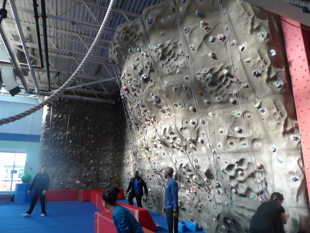 <p>The climbing wall at the Chelsea Piers field house.</p>