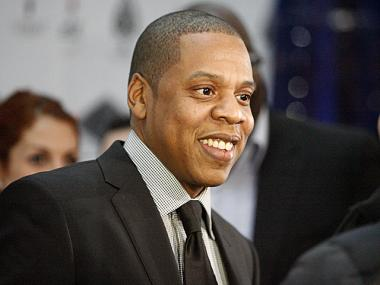 Jay-Z on the red carpet at the re-opening of his 40/40 club on Jan. 18th, 2012.