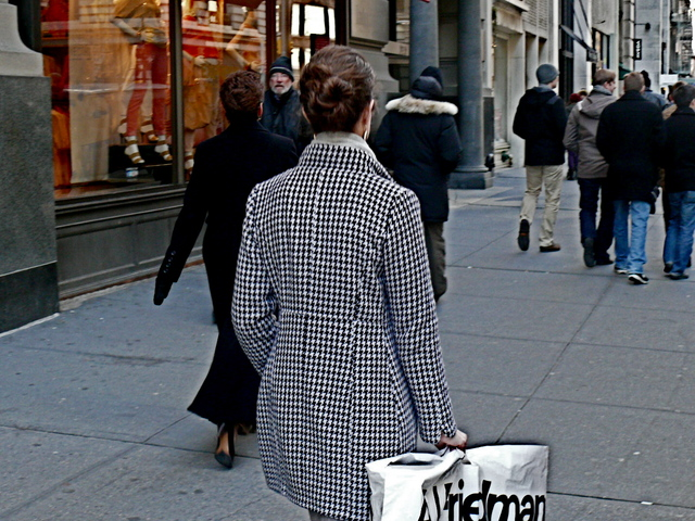 A very fitted, princess seamed, classic houndstooth coat on Fifth Avenue in Chelsea