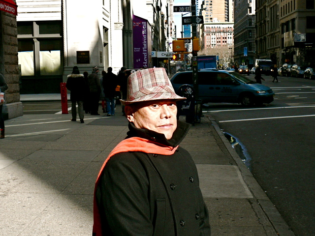 Marshall F.'s wool pork pie hat in red, ivory and taupe on Fifth Avenue.