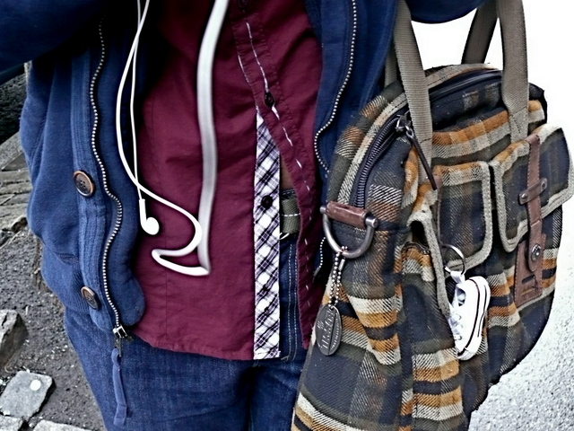 Detail of plaid tote in West Village, with bias plaid placket trim in West Village.