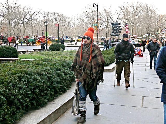 Well wrapped earth tone plaid cape and fair isle knits on Grand Army Plaza.