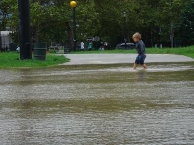 After Hurricane Irene a child tried to traverse McCarren Park.