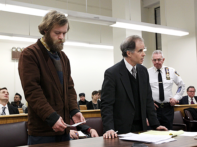 An Occupy Wall Street protester arrested in the NYPD's Nov. 15 raid of Zuccotti Park appears in Manhattan Criminal Court on Jan. 20th, 2012.