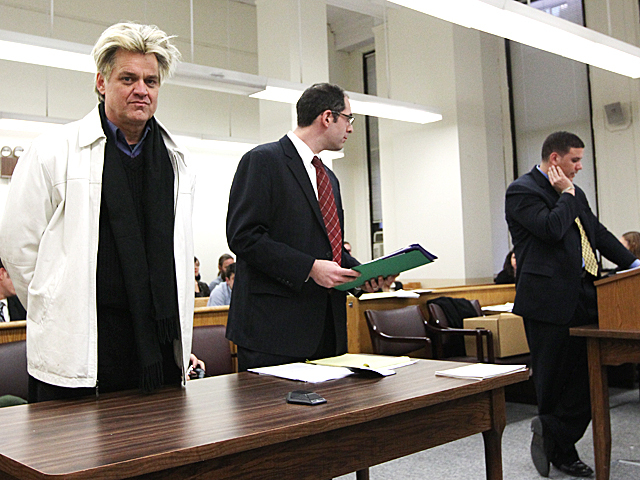 Occupy Wall Street protester and performer Rev. Billy Talen appears in Manhattan Criminal Court on Jan. 20th, 2012.